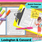 Lexington and Concord {Close Reading Passage for UPPER ELE
