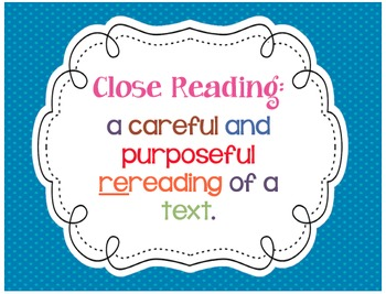 Close Reading Posters & Checklist! Questions to inspire st