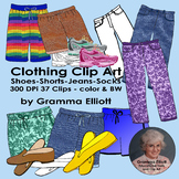 Clothing Clip Art - Assorted Pants, Shorts, Jeans, and Shoes