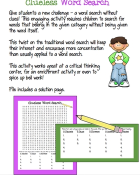 Clueless Word Search for Centers or Enrichment
