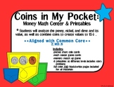 Coins in My Pocket: Money Math Center & Printables-black&w
