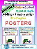 Color-Coded Mental Math Strategy Posters BUNDLE Common Cor