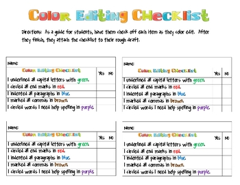 Color Editing Checklist.