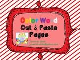 Color Word Cut & Paste Activities