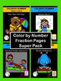 Color by Number Fraction Pages - Super Pack