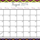 Colorful Chevron Calendars 2014-2015