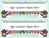 Colorful, EDITABLE Name Plate with Educational Tools