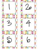 Colorful Polka Dot Calendar Numbers