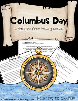 Columbus Day: A Non-Fiction Close Read for 4th-6th Grade