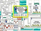Columbus Day Math, Craft, and Literacy Fun Centers for Pre