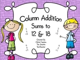 Column Addition Sums of 12 & 18