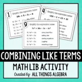 Combining Like Terms Math Lib Activity