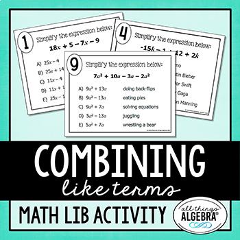 Combining Like Terms Math Lib Activity