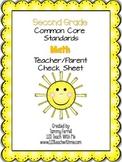 Common Core-2nd Grade Teacher/Parent Check Sheet