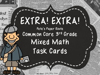 Common Core 3rd Grade- Mixed Math Task Card Station- Newsp