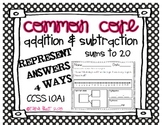 Common Core Addition & Subtraction Word Problems Sums to 2