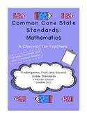 Common Core Checklist for Teachers: K-2 Math