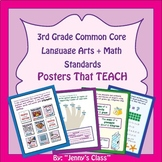 """3rd Grade Common Core """"I Can"""" Statements: Math + Language"""