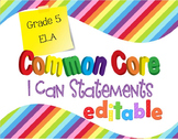 Common Core I Can Statements ELA Grade 5 Primary Colors