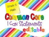 Common Core I Can Statements Math Grade 5 Primary Colors