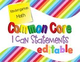 Common Core I Can Statements Math Kindergarten