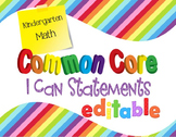 Common Core I Can Statements Math Kindergarten