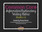 Common Core Informative Explanatory Writing Rubric Grades 6-12