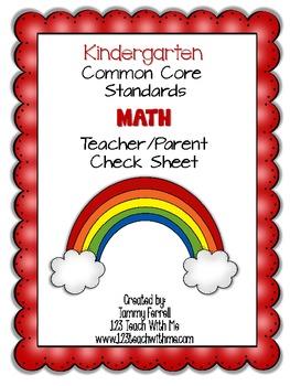Common Core- Kindergarten Math: Teacher/Parent Check Sheet