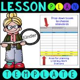 Common Core Lesson Plan Template With Drop Down Boxes K La
