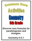 Common Core Math 6th Grade Geometry 6.G.1 Area Parallelogr