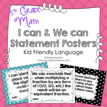5th Grade Common Core Math I can & We can Statement Poster