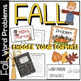Common Core Math Word Problems for Fall