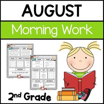 Common Core Math and Language Arts Daily Practice for Second Grade (August)