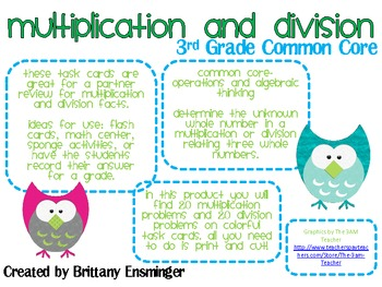 Common Core- Multiplication and Division Task Cards (3rd Grade)