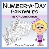 Number a Day Math Worksheets (Kindergarten)