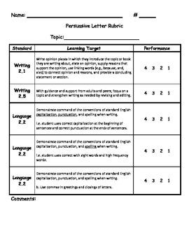 Common Core Persuasive Letter Rubric