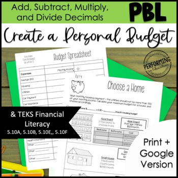 Project Based Learning: Create a Personal Budget Financial Literacy TEKS