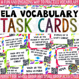 Common Core ELA Vocabulary Test Prep QR Code Task Cards