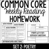 Common Core Weekly Reading Homework Review {Set 2: Poetry}