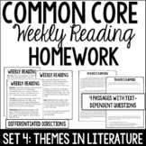 Common Core Weekly Reading Homework Review {Set 4: Themes