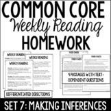 Common Core Weekly Reading Homework {Set 7: Making Inferen