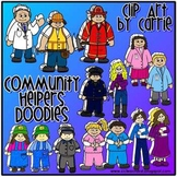 Community Helpers Doodles (BW and full-color PNG files)