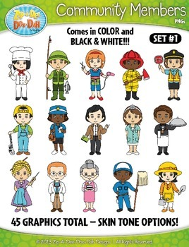 Community Members / Helpers Character Clipart Set 1 — Includes 45 Graphics!