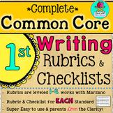 Complete First Grade Writing Common Core Rubrics + Checklists