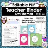 Teacher Planner {Owl Themed} Editable PDF + 27 Forms & Bin