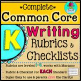 Complete KINDERGARTEN Common Core Writing Rubrics + Checklists