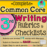 Complete Third Grade Writing Common Core Rubrics + Checklists