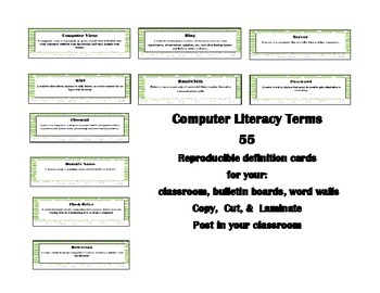 Computer Literacy Cards 55 cards to copy, cut, &  laminate