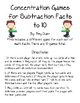 Concentration or Memory Games for Subtraction Facts 1-10