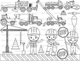 Construction Machines Outline Clip Art stamp coloring page